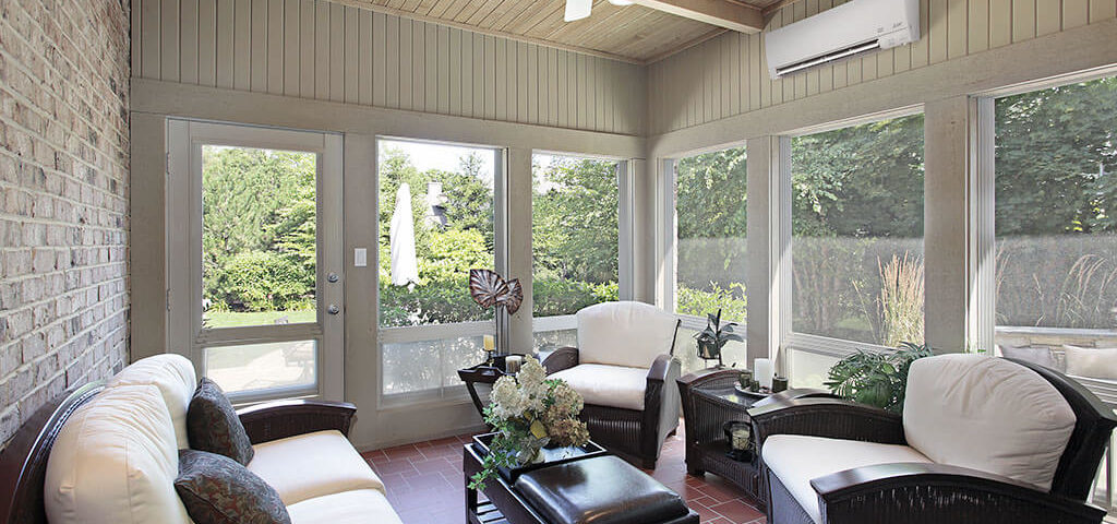 Mitsubishi Ductless System installed in a sunroom in Palos Park, IL provides comfortable air all year round