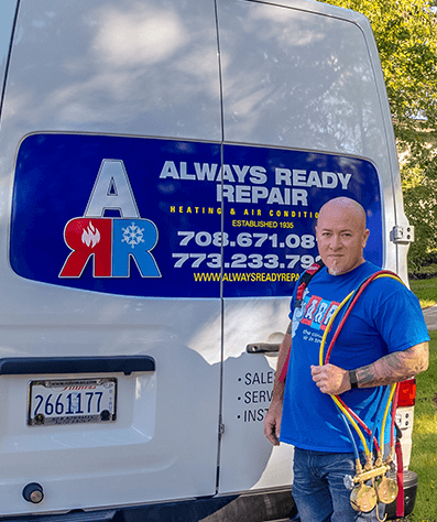 Always Ready Repair Technician at a job site ready to perform AC Service Call