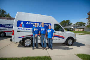 The Always Ready Repair team in front of the company van