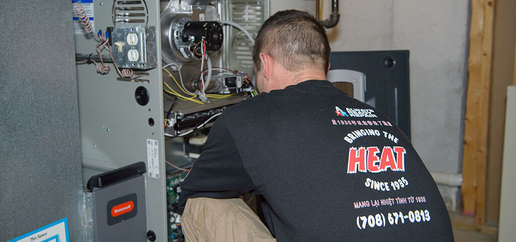 Always Ready Repair technician is servicing a furnace in Tinley Park, IL