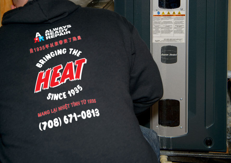 Always Ready Repair HVAC Technician Fixing a Furnace in Orland Park, IL